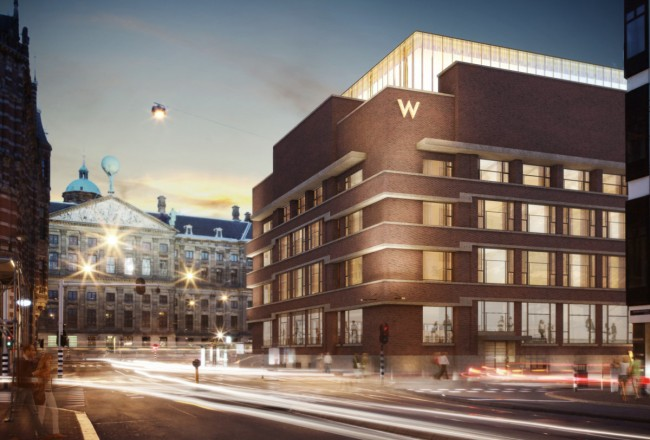 The W Hotel Amsterdam is split between two buildings close to Dam Square and boasts two restaurants and a rooftop lounge with stunning views.