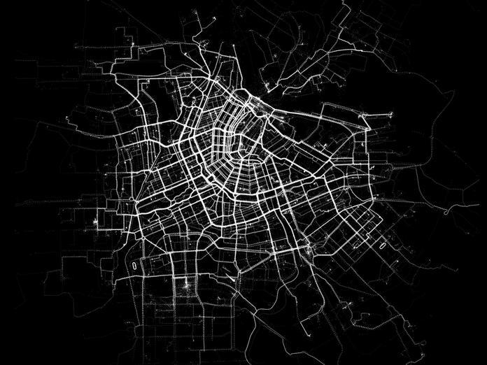 fun facts about bicycling in Amsterdam - bicycling-heatmap-amsterdam