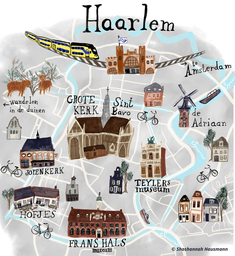 Things to do in Haarlem - AwesomeAmsterdam.com - map by ShoshannahHausmann.com