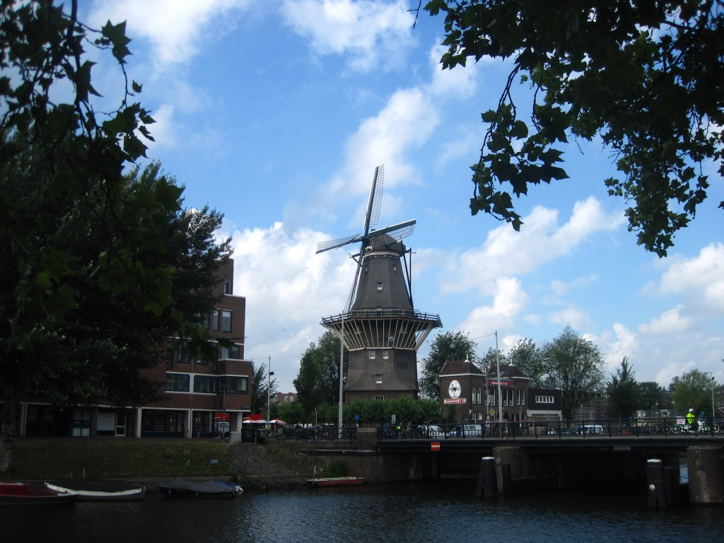 One of the most well-known windmills in Amsterdam is De Gooyer. It sits next to Brouwerij 't IJ in Amsterdam Oost.