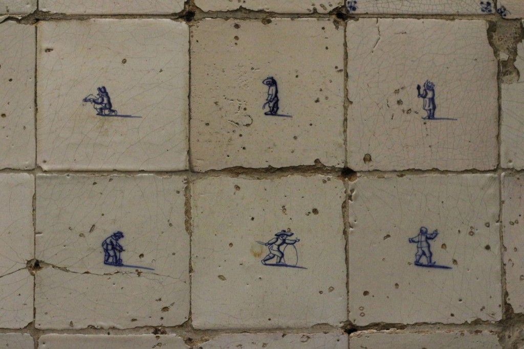 Tiles at Our Lord in the Attic museum. Ons Lieve Heer op Solder is a 17th century house with a Catholic church hidden in the attic in Amsterdam. The building is now a wonderful museum where you can visit the original canal house and the secret church.