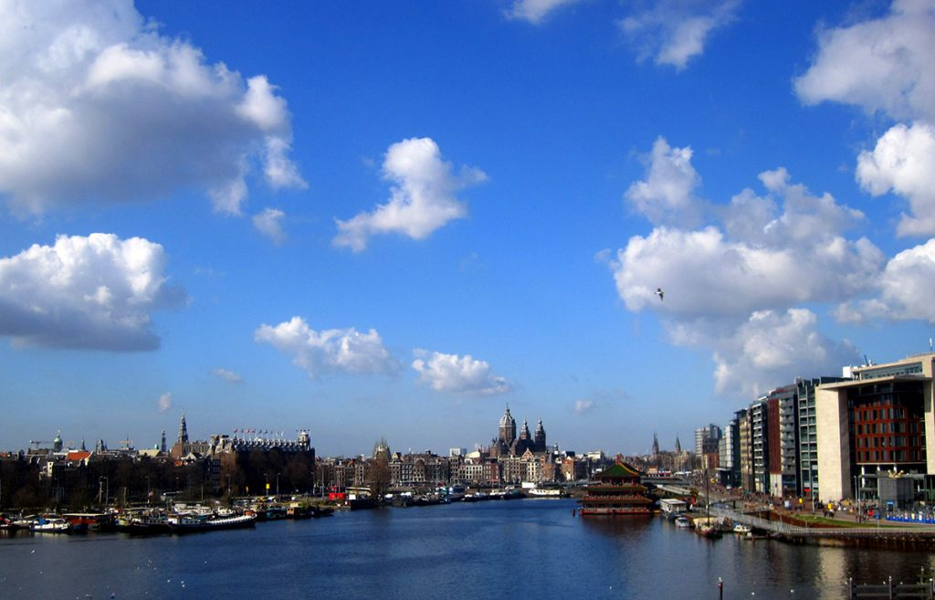 Check out stunning views of Amsterdam for free by climbing the stairs to the top of Science Center NEMO.