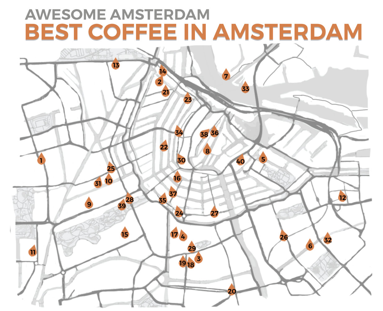 graphic about Printable Map of Amsterdam known as aa-espresso-map Amazing AMSTERDAM