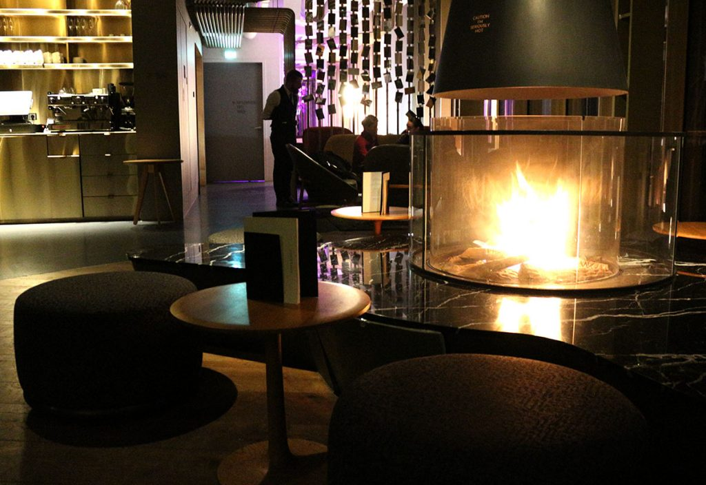 W hotel amsterdam fireplace